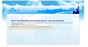 KLM qui donne un précieux conseil après que vous vous êtes tapé tout un formulaire...