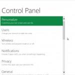 Aperçu du Panneau de Configuration Windows 8
