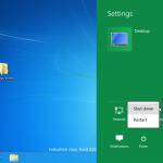 Windows 8 - Fenêtre des options - Éteindre / Redémarrer
