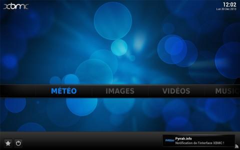 Affichage d'une notification XBMC